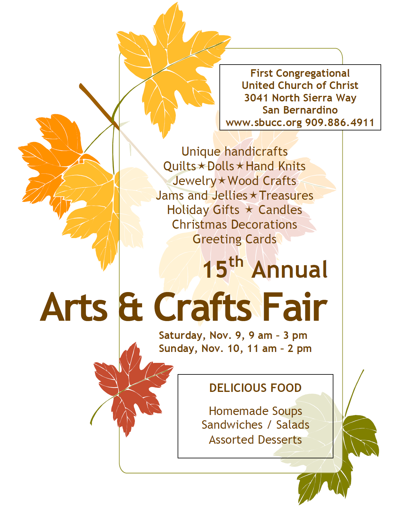 Fall arts and crafts fair first congregational ucc san for Arts and crafts fairs